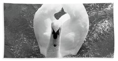 Swan In Motion Beach Towel by Inspirational Photo Creations Audrey Woods