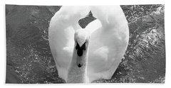 Swan In Motion Beach Sheet