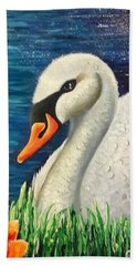 Swan In Pond Beach Towel