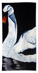 Beach Towel featuring the painting Swan In Shadows by Lil Taylor