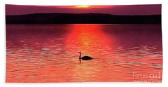 Swan In The Sunset Painting Beach Towel
