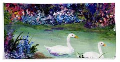 Beach Towel featuring the mixed media Swan Lake by Writermore Arts