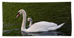 Swan Mother With Cygnet Beach Towel
