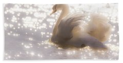 Swan Of The Glittery Early Evening Beach Sheet