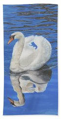 Beach Towel featuring the painting Swan Reflection by Elizabeth Lock