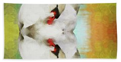 Swan Reflection Beach Towel by Suzanne Handel