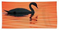 Swan Silhouette Beach Towel by Roeselien Raimond