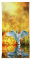Swan Song At Sunset Thanks For The Good Day Lord Beach Towel by Diane Schuster