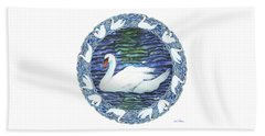 Beach Towel featuring the painting Swan With Knotted Border by Lise Winne
