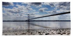 Swans At Humber Bridge Beach Towel