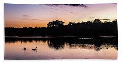 Swans At Sunrise Beach Towel