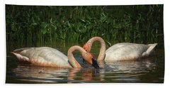 Swans In A Pond  Beach Towel