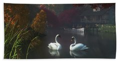 Swans In A River Near Home Beach Sheet