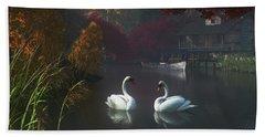 Swans In A River Near Home Beach Towel