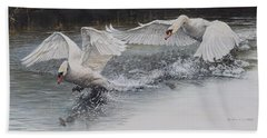 Beach Towel featuring the painting Swans In Dispute by Alan M Hunt