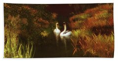 Swans In The Forest Beach Towel