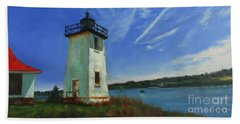 Swans Island Lighthouse Beach Towel