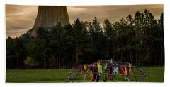 Beach Towel featuring the photograph Sweat Lodge At Devil's Tower by Gary Lengyel