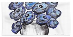 Sweet Blue Poppies Beach Sheet by Ramona Matei