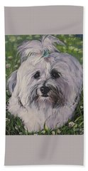 Sweet Havanese Dog Beach Towel by Lee Ann Shepard