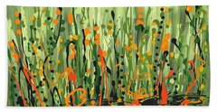 Beach Towel featuring the painting Sweet Jammin' Peas by Holly Carmichael