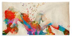 Beach Towel featuring the digital art Sweet Jenny Bursting With Music Cropped by Nikki Marie Smith