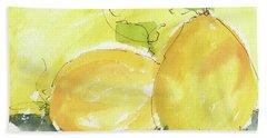 Sweet Lemon Watercolor Painting By Kmcelwaine Beach Towel by Kathleen McElwaine