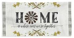 Sweet Life Farmhouse 5 Home Windmill Cotton Boll Laurel Leaf Buffalo Check Plaid Beach Towel