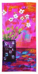 Sweet Little Flower Vase Beach Towel by Haleh Mahbod