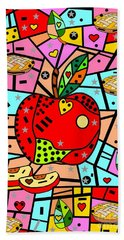 Beach Towel featuring the digital art Sweet Popart Apple By Nico Bielow by Nico Bielow