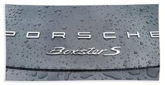 Rain Drops On A Porsche Boxster S Beach Towel