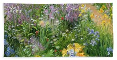 Sweet Rocket - Foxgloves And Irises Beach Towel by Timothy Easton