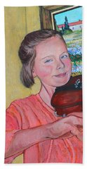 Beach Towel featuring the painting Sweet String Serenade by Tom Roderick