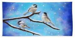 Beach Towel featuring the painting Sweetest Winter Birdies by Leslie Allen