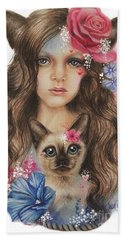 Beach Towel featuring the mixed media Sweetheart by Sheena Pike