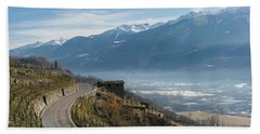 Swerving Road In Valtellina, Italy Beach Towel