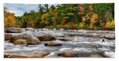 Swift River Runs Through Fall Colors Beach Sheet