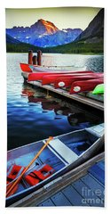 Swiftcurrent Lake And Canoes Beach Towel