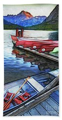 Swiftcurrent Lake And Canoes_pastel Version Beach Towel