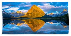 Swiftcurrent Lake Sunrise Panorama Beach Towel