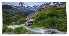 At The End The Small Stream, Switzerland Beach Towel