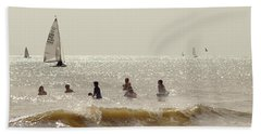 Swimmers And Yachts Beach Towel
