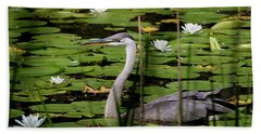 Swimming Among The Waterlilies Beach Towel