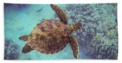 Swimming Honu From Above Beach Sheet