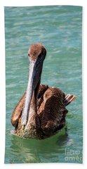 Swimming Pelican Beach Towel by D Renee Wilson
