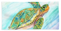 Swimming, Smiling Sea Turtle Beach Towel