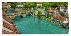 Beach Sheet featuring the photograph Swimming The River Aare , Bern  by Connie Handscomb