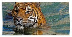 Swimming Tiger Beach Towel