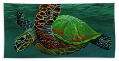 Beach Towel featuring the painting Swimming With Aloha by Darice Machel McGuire