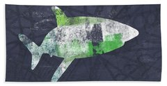 Swimming With Sharks 2- Art By Linda Woods Beach Towel